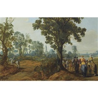 a wooded landscape with mounted soldiers, a church tower beyond by gerrit claesz bleker