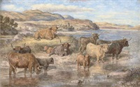 highland cattle on loch dochart by david george steell
