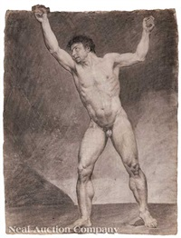 a muscular male nude positioned by misbach