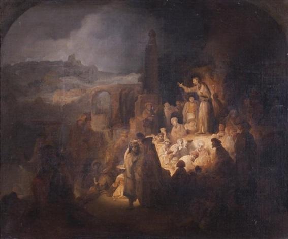 la prédication de saint jean baptiste by rembrandt van rijn