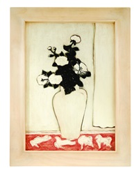 white peony with four ponies by sanyu