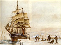 an antarctic expedition landing and unloading stores into the ice (2 works) by r.c. herbert