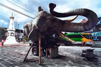 sleeping elephant in the axis of yogyakarta : sultan's palace square by wimbo ambala bayang