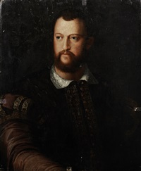 portrait of cosimo de medici (1519-1594), half-length, in a burgundy embroidered coat by agnolo bronzino