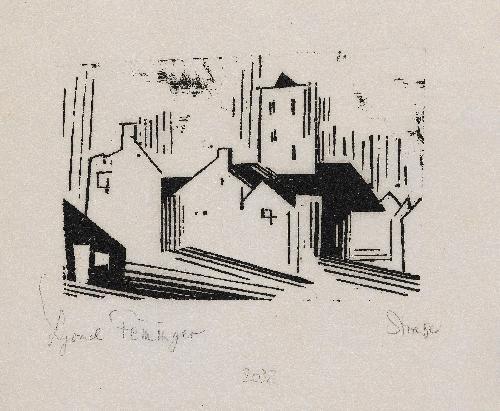 straße (belgische stadt), pl.7 (from 10 holzschnitte von lyonel feininger) by lyonel feininger