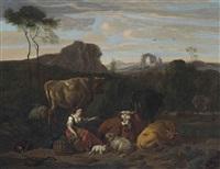 a shepherdess and her flock seated in a landscape, ruins beyond by dirk van bergen