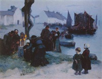 the departure of the fishermen in the early morning, 1891 by louis paul dessar
