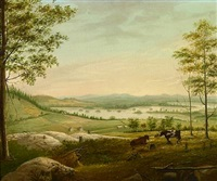 cows grazing on a hillside with a view of a lake and farmhouse by john sherburne blunt