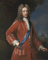 portrait of john campbell, 2nd duke of argyll and 1st duke of greenwich, in a red coat with silver braid, with the sash and star of the order of the garter, a coastal fortress beyond by william aikman