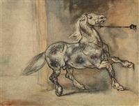 cheval effrayé à l'écurie by théodore géricault