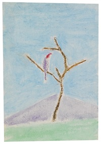 tree and bird with mountain by craigie aitchison