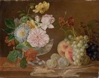 nature morte aux fleurs et aux fruits by simon saint-jean