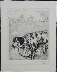 le chien qui porte a son cou le dine de son maitre (from les fables de la fontaine) by marc chagall