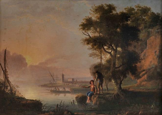 scène de pêche by jean baptiste charles claudot