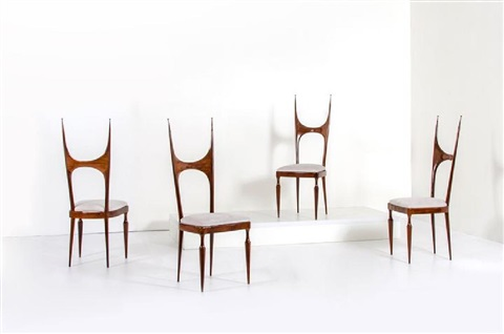 Quattro sedie con struttura in legno di palissandro, seduta ...
