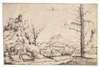 landschaft mit burg auf hohem fels links by augustin hirschvogel