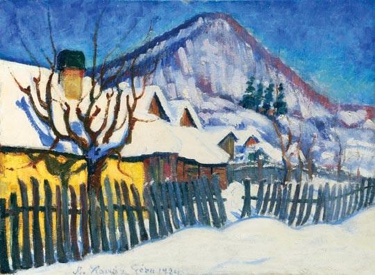 snow covered nagybánya by géza kádár