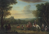 thomas osborne, 4th duke of leeds (1713-1789), on horseback, with a hunting party in an extensive wooded landscape by john wootton