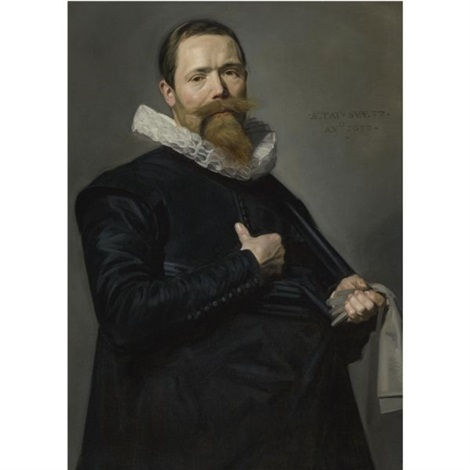 portrait of a man holding a pair of gloves by frans hals the elder