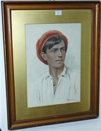 portrait of a young boy in a red beret (+ 2 others; 3 works) by agusto moriani