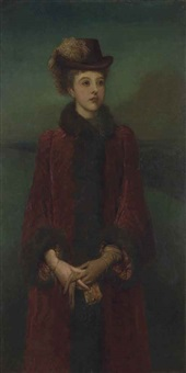 portrait of laura gurney, lady troubridge, three-quarter-length, in a red fur-lined coat and a plumed hat by george frederick watts