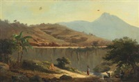 mountainscape with women washing clothes in the river, probably morocco by daniel hermann anton melbye