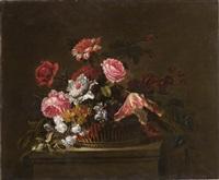 rose, garofani, peonie e tulipani in un cesto di vimini by juan de arellano