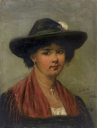 girl in hat by woiciech (aldabert) ritter von kossak
