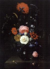 bouquet de fleurs sur un entablement by abraham mignon