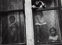 children in window, new york by leon levinstein