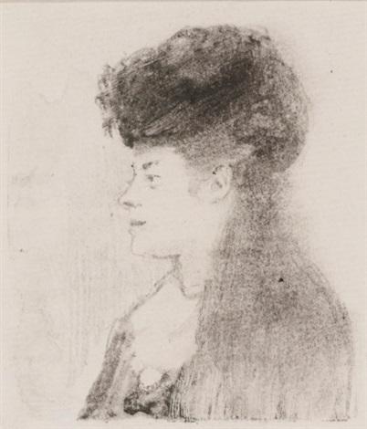 portrait bust of a woman facing left by edgar degas