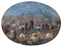 battle scene (+ battle scene with ships in the background; 2 works) by francesco allegrini