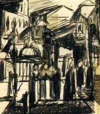 study for third avenue el (+ 2 others; 3 works) by francis criss