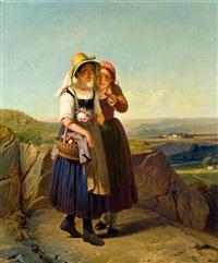 zwei mädchen am heimweg by françois verheyden