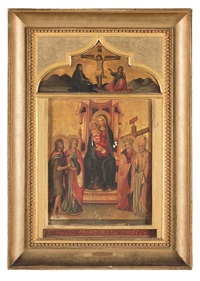 madonna in trono e santi; cupside con crocifissione (2 works) by anonymous (15)