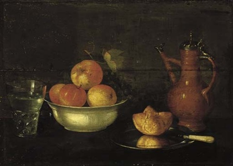 apples and grapes in a porcelain bowl a bread roll on a pewter plate a glass of water and a jug by cornelis jacobsz delff