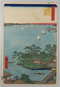 série des 100 vues célèbres d'edo. 83 - shinagawa susaki. vue depuis le quartier de shinagawa sur la baie d'edo by ando hiroshige
