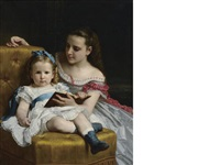 a portrait of eva and frances johnston by william adolphe bouguereau