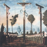the crucifixion with a donor family kneeling at the foot of the three crosses by danube school (16)