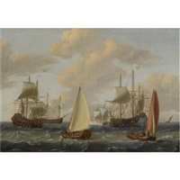 dutch merchant men, a kaag and other sailing vessels in choppy waters by adam silo