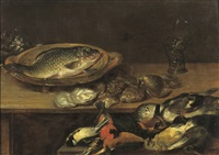 a fish, oysters and songbirds on a wooden table by alexander adriaenssen
