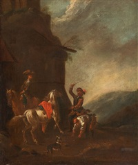 landscape with horsemen by august querfurt