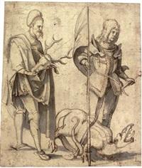 saint hubert and saint george by hans (suess von) kulmbach