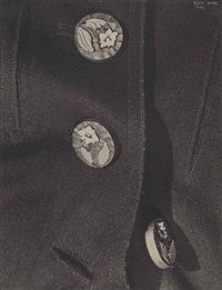 three buttons with carved flowers by ilse bing
