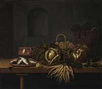 a still life with cabbages, carrots, gherkins, fish on an earthenware plate, an earthenware pot and two baskets with artichokes and pears, all on a wooden table with a pear by hubert van ravesteyn