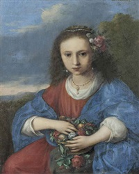 portrait of a girl as flora by cornelis van poelenburgh