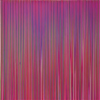 poured lines: light violet, green, blue, red, violet by ian davenport