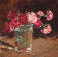 glass with carnations by eugenia filotti atanasiu