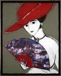dama con sombrero (red) by manolo valdés