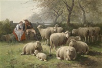 rastendes paar bei schafherde by jan david col and cornelis van leemputten
